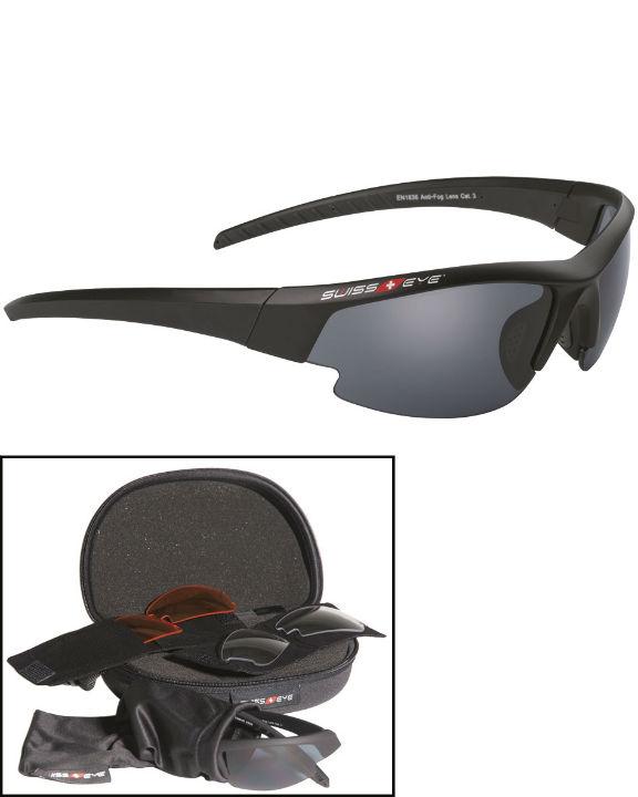 SWISS EYE® Gardosa Schutzbrille Schwarz Ballistisch mit Wechselscheiben LG.