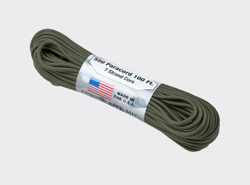Original Army Paracord Cort 550 LBS (250kg) Cord 7 Strang 30,84 m (100ft) OLIV.