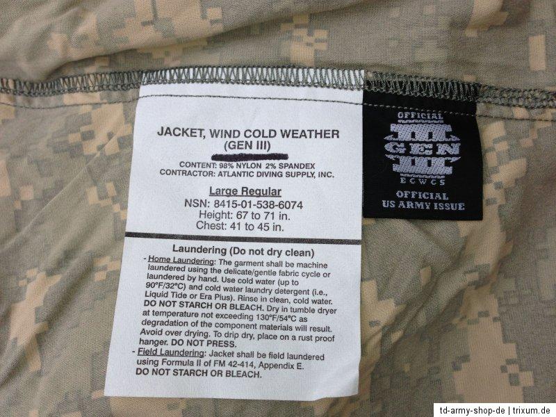 ORG ARMY ACU Wind Cold Weather GEN III ECWCS Jacket Jacke Size:Large/Reg. Neu.