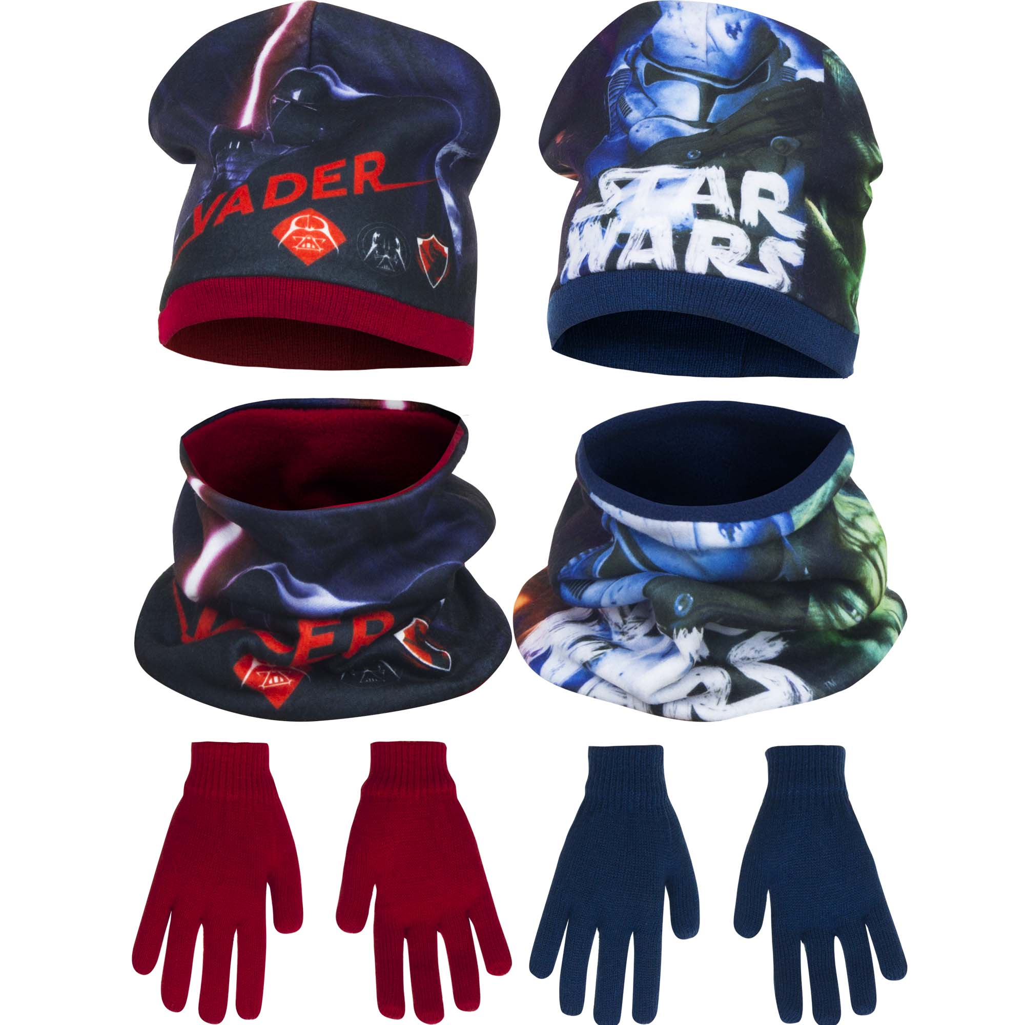 Star Wars Mutze mit Schlauchschal und Handschuhe Schal Disney Kinder Set