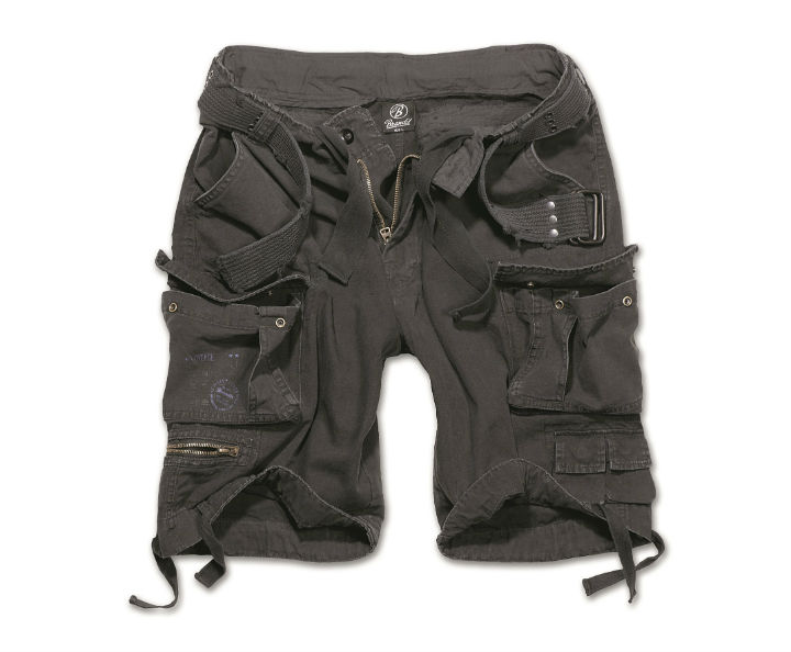 BRANDIT Herren Shorts kurze Hose SAVAGE VINTAGE schwarz Black mit Gürtel.