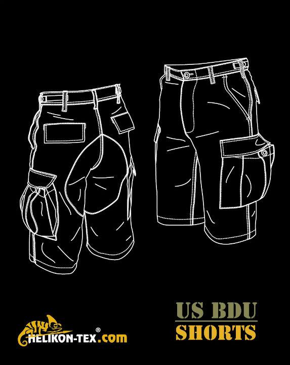 HELIKON-TEX BDU Shorts Cotton Ripstop US Woodland kurz Hose SP-BDK-CR-03.