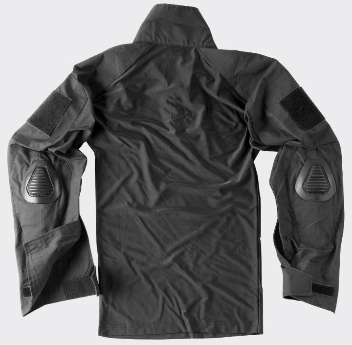 HELIKON-TEX COMBAT SHIRT Black with Elbow Pads TACTICAL KO-CS2-PO-01.