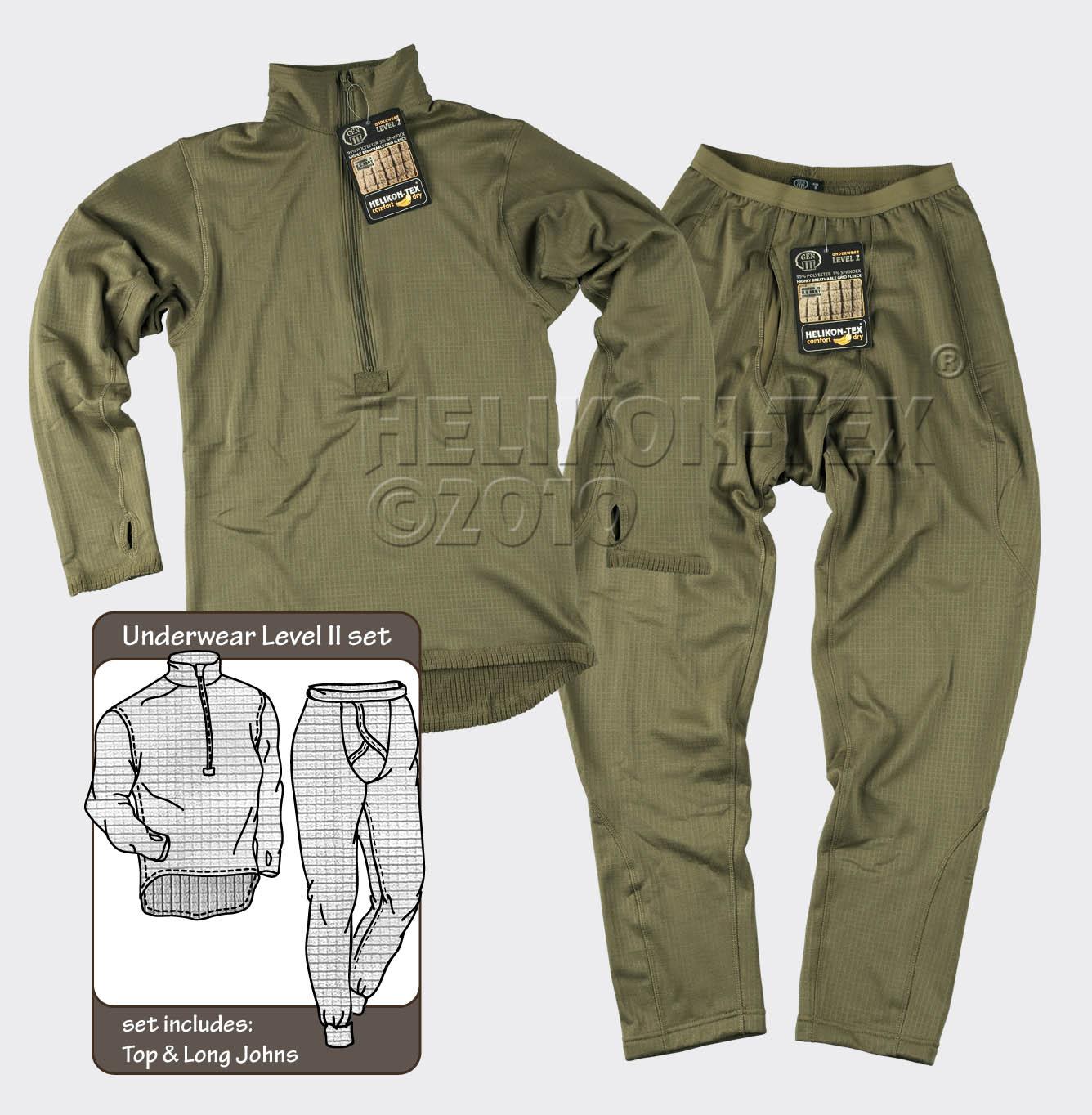 HELIKON-TEX Underwear (full set) US LVL 2 Olive Green KP-UN2-PO-02 Level 2.