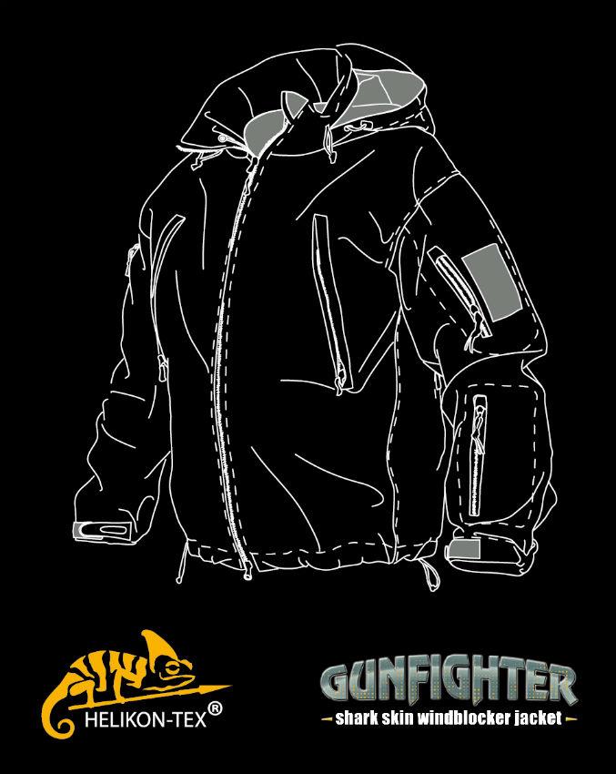 Helikon GUNFIGHTER Jacket Shark Skin Windblocker COYOTE KU-GUN-FM-11.