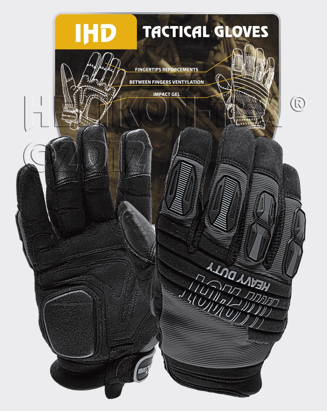 HELIKON-TEX IMPACT HEAVY DUTY Gloves Handschuhe Black Helikon RK-IHD-PO-01.