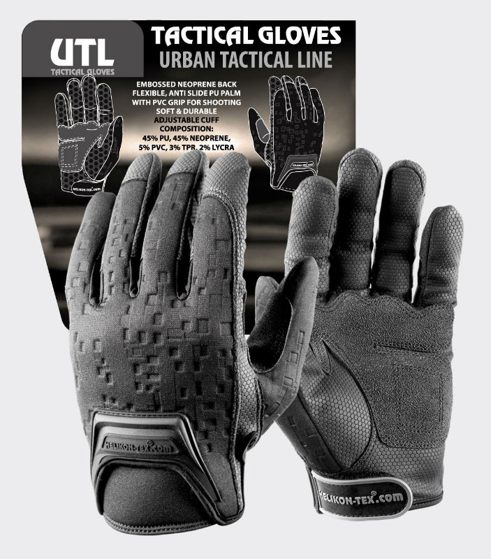 HELIKON-TEX URBAN TACTICAL LINE® Gloves Black Handschuche Helikon RK-UTL-PU-01.