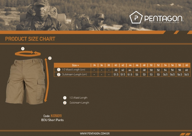 PENTAGON Tactical BDU 2.0 Shorts kurz Hose Bermuda Short KHAKI K05011-04.